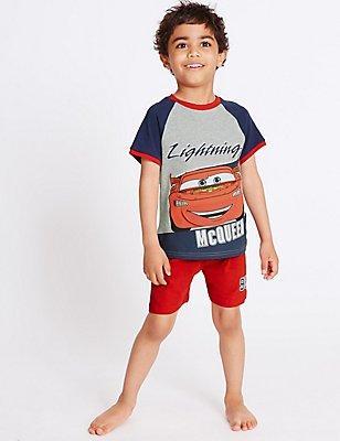 Pure Cotton Disney Car Short Pyjamas (1-7 Years), NAVY MIX, catlanding