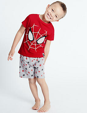 Pure Cotton Spider-Man™ Short Pyjamas (2-10 Years), RED MIX, catlanding