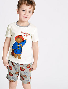 Pijama corto de cuadros de Paddington Bear™ (1-8años), MEZCLA DE GRISES, catlanding