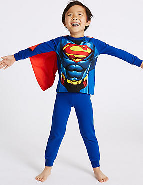 Superman™ Cotton with Stretch Pyjamas (2-10 Years), BLUE MIX, catlanding