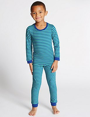 Cotton Rich Striped Pyjamas (6-16 Years), BLUE MIX, catlanding