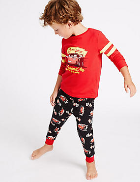 Disney Cars Cotton Pyjamas with Stretch (1-8 Years), RED MIX, catlanding