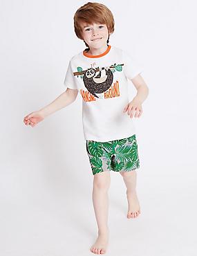 Printed Short Pyjamas (9 Months - 8 Years), ORANGE MIX, catlanding