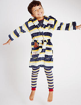 Long Sleeve Gruffalo Striped Dressing Gown (1-8 Years), GREY MIX, catlanding