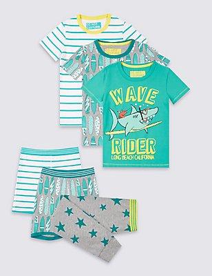 3 Pack Cotton Rich Pyjamas (9 Months - 8 Years), AQUA MIX, catlanding