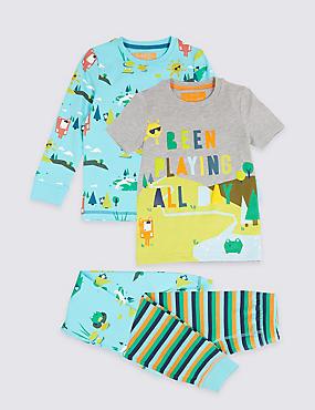 2 Pack Printed Pyjamas (1-7 Years), MULTI, catlanding