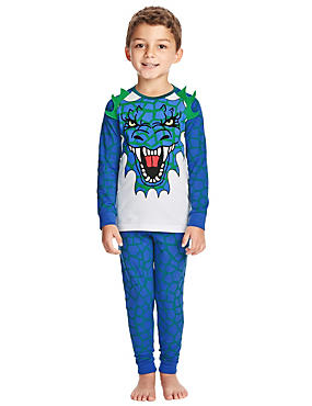 Cotton Rich 3D Dragon Print Stay Soft Pyjamas (1-8 Years)