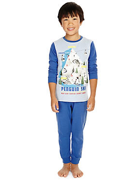 Cotton Rich Stay Soft Penguin Print Pyjamas (1-8 Years)
