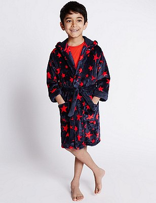Anti Bobble Hooded Star Print Dressing Gown (1-8 Years), NAVY MIX, catlanding