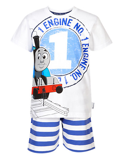Pure Cotton Thomas & Friends Striped Pyjamas Shorts Set Clothing