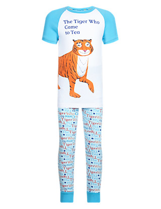 Cotton Rich 'Tiger Who Came to Tea' Slogan Pyjamas (1-7 Years) Clothing