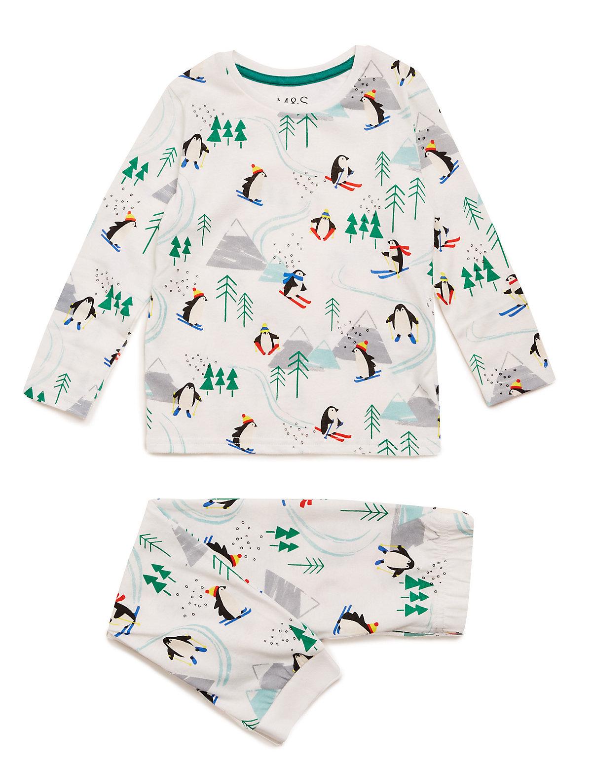 Хлопковая пижама с принтом Пингвины лыжники