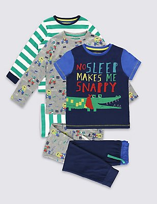 3 Pack Pyjamas (9 Months - 8 Years), BLUE MIX, catlanding