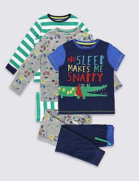 3er-Pack Schlafanzüge (9 Monate–8 Jahre), BLAU MELANGE, catlanding