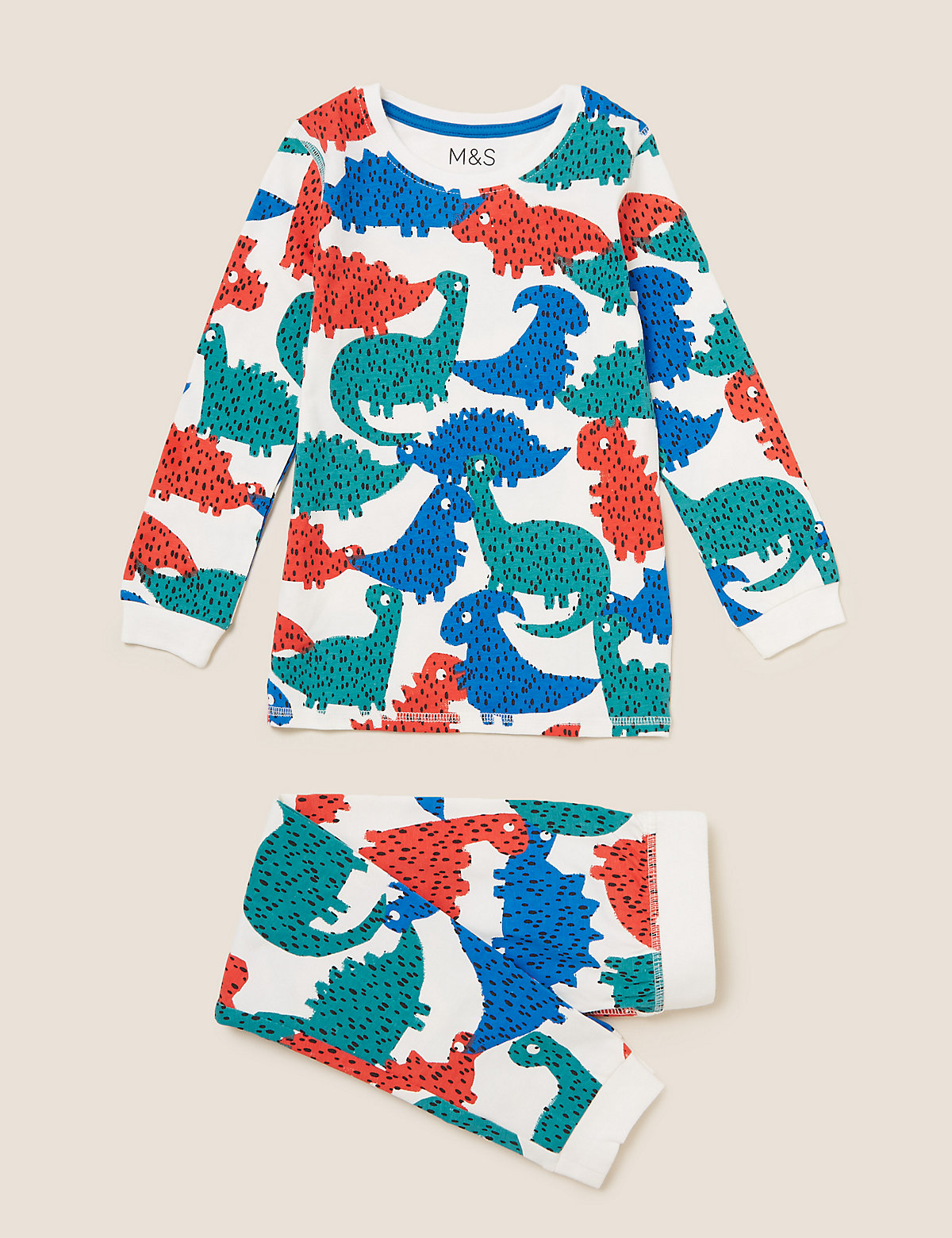 Хлопковый пижамный комплект с принтом Динозавры