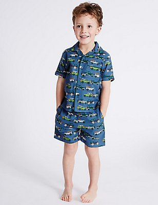 Pure Cotton All Over Print Short Pyjamas (9 Months - 8 Years), BLUE MIX, catlanding