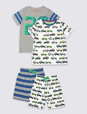 2 Pack Short Pyjamas (9 Months - 8 Years), GREY MIX, catlanding