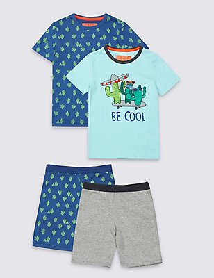 2 Pack Short Pyjamas (9 Months - 8 Years), PALE BLUE MIX, catlanding