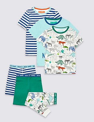 3 Pack Pure Cotton Pyjamas (9 Months - 8 Years), MULTI, catlanding