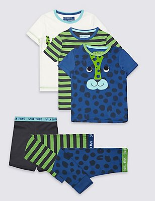 3 Pack Short Sleeve Pyjamas (9 Months - 8 Years), MULTI, catlanding