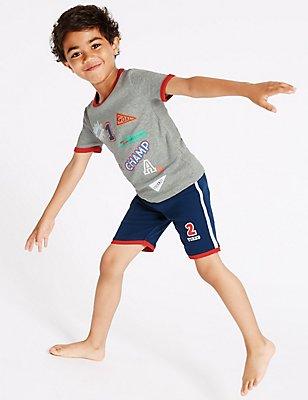 Badge Short Pyjamas (9 Months - 8 Years), GREY MIX, catlanding