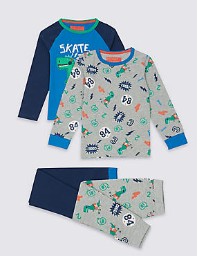 2 Pack Long Sleeve Pyjamas (9 Months - 8 Years), NAVY MIX, catlanding
