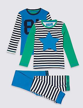 2 Pack Pure Cotton Pyjamas (9 Months - 8 Years), BLUE MIX, catlanding
