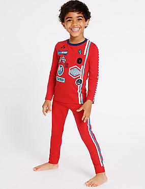 Cotton with Stretch Pyjamas (9 Months - 8 Years), RED MIX, catlanding