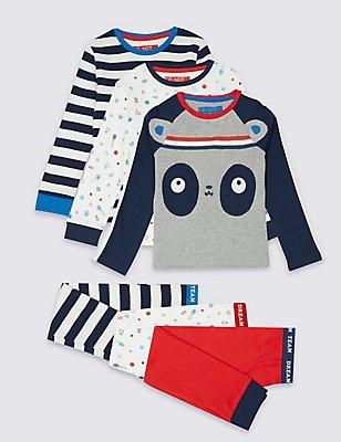 3 Pack Long Sleeve Pyjamas (9 Months - 8 Years), MULTI, catlanding