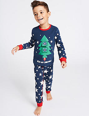 Long Sleeve Cotton Pyjamas with Stretch (1-8 Years), BLUE MIX, catlanding