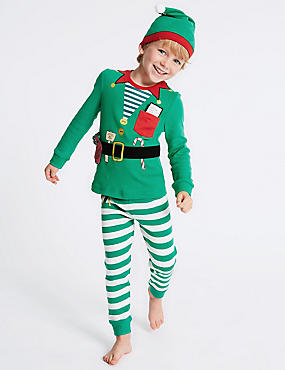 Pure Cotton Elf Pyjamas with Hat (9 Months - 8 Years), GREEN MIX, catlanding