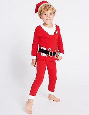 Katoenen pyjama met kerstmanmotief (9 maanden-8 jaar), ROOD MIX, catlanding