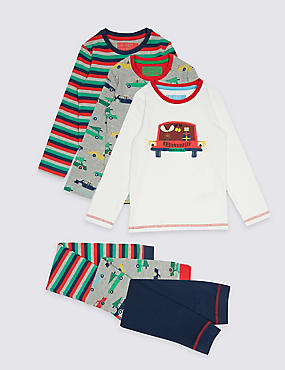 3 Pack Printed Pyjamas (9 Months - 8 Years), RED MIX, catlanding