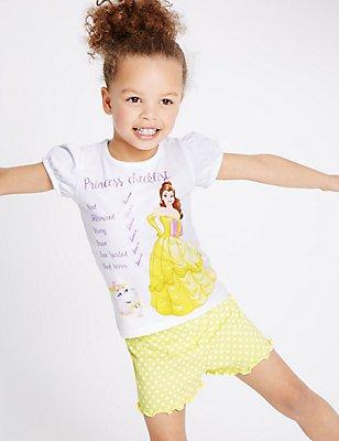 Korte pyjama met Disney Princess-motief (1-10 jaar), WIT MIX, catlanding