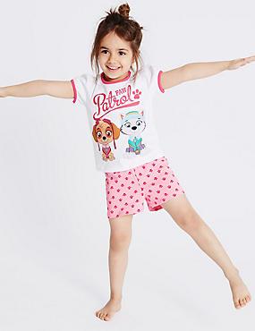Korte pyjama van puur katoen met Paw Patrol-motief (1-6 jaar), WIT MIX, catlanding