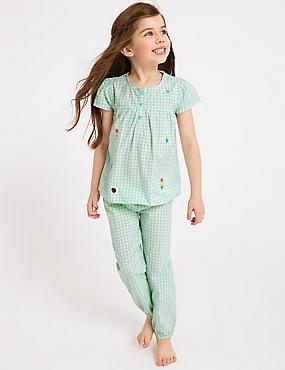 Gingham Pure Cotton Pyjamas (1-7 Years), MINT, catlanding