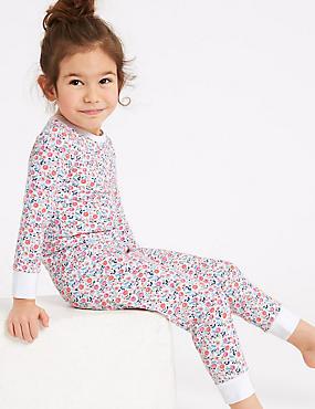 Ditsy Print Pyjamas with Stretch (1-7 years) , PINK, catlanding
