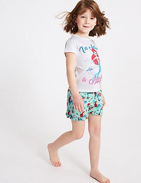 Disney Princess™ Pure Cotton Short Pyjamas (2-10 Years), WHITE MIX, catlanding