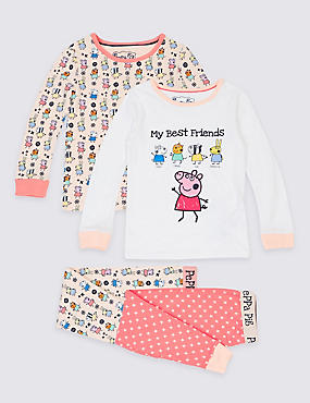 2 Pack Cotton Rich Peppa Pig™ Pyjamas (1-7 Years), PINK MIX, catlanding