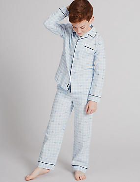 Pure Cotton Checked Pyjamas (1-16 Years), BLUE MIX, catlanding