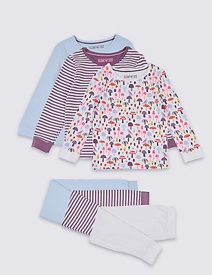 3 Pack Pyjamas (9 Months - 8 Years), PURPLE MIX, catlanding