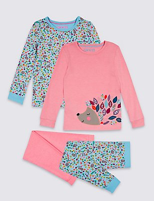 2 Pack Hedgehog Pyjamas (9 Months - 8 Years), PINK MIX, catlanding