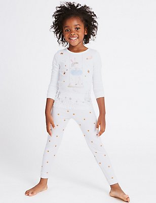 Printed Pyjamas with Tutu (9 Months - 8 Years), WHITE MIX, catlanding