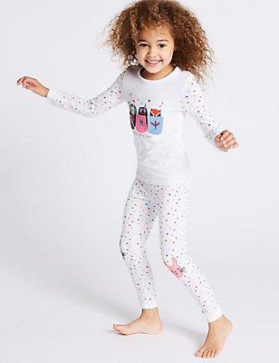 Pyjama en coton extensible avec imprimé (du 9mois au 8ans), BLANC ASSORTI, catlanding