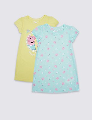 2 Pack Peppa Pig™ Nightdress (1-7 Years), YELLOW MIX, catlanding
