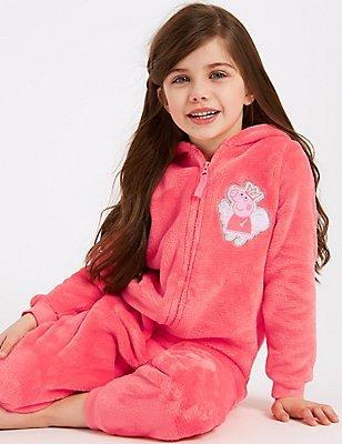 Peppa Pig™ Hooded Onesie (1-7 Years), PINK MIX, catlanding