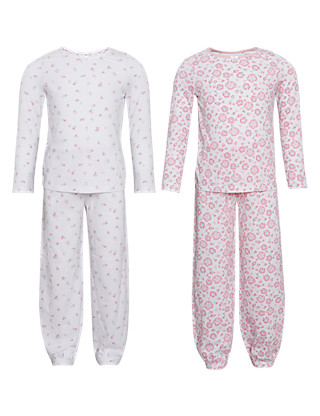 2 Pack Pure Cotton Floral Pyjamas (1-7 years) Clothing