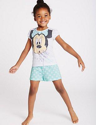Pure Cotton Minnie Mouse Short Pyjamas (1-8 Years), AQUA MIX, catlanding