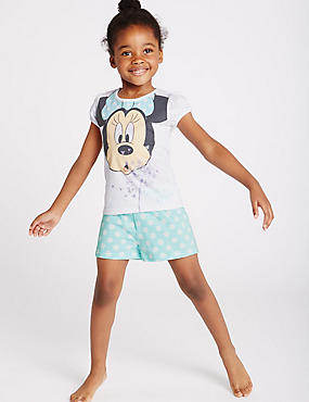 Pure Cotton Minnie Mouse Short Pyjamas (1-8 Years), AQUA MIX, catlanding