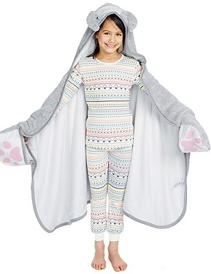 Anti Bobble Bunny Hooded Dressing Gown, GREY MARL, catlanding